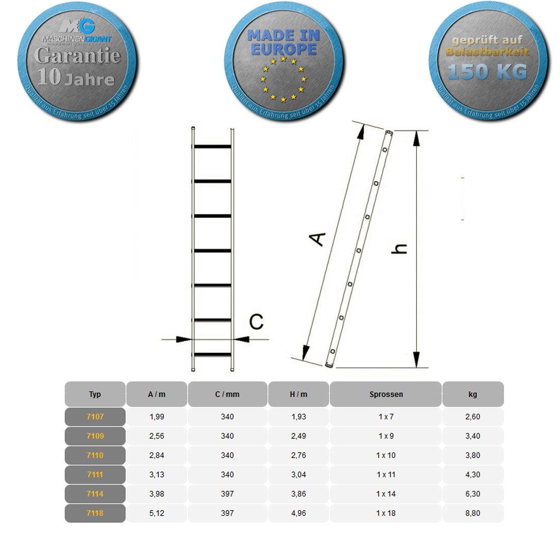 18 Stufen bei 512 cm H/öhe Profi 7118 Aluminium Anlegeleiter einteilig