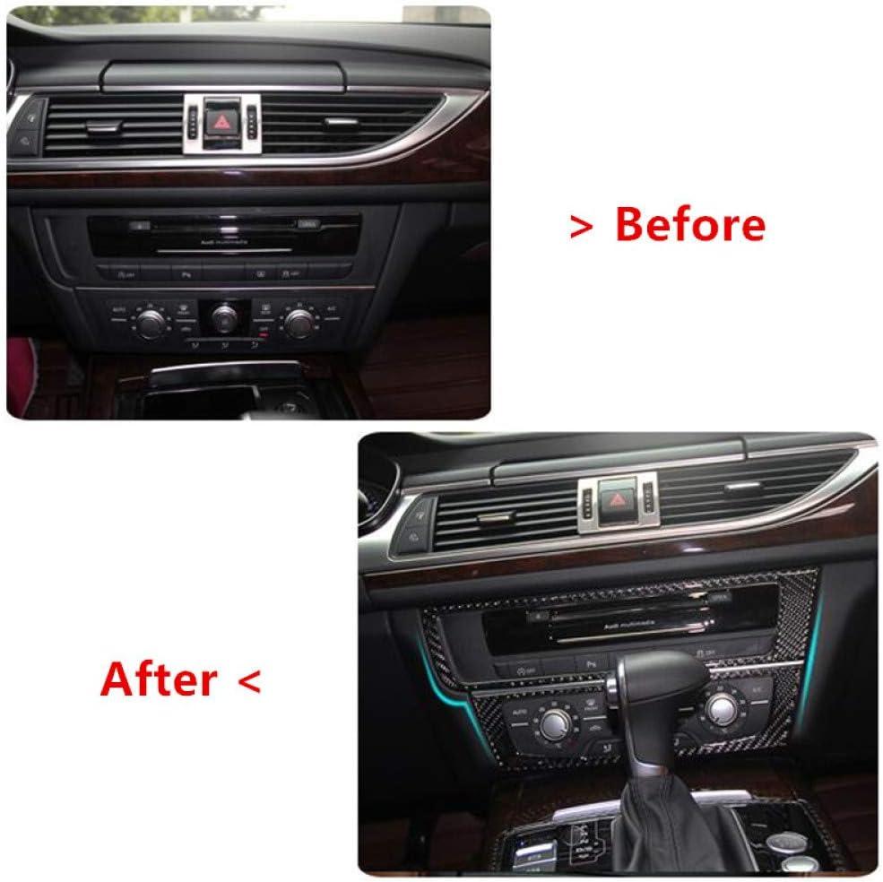 Gnnlor Mittelkonsole Klimaanlage CD Rahmen Dekor Abdeckung Carbon Verkleidung f/ür Audi A6 C7 2012 2018 LHD