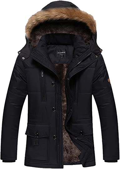 Fubotevic Mens Relaxed Thickened Full-Zip Solid Hoodie Quilted Jacket Parka Coat Outerwear