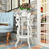 Storage Tower Flower Frame Iron Multi-storey Indoor Living Room Assembly Storage Unit Balcony Floor Type Objects(White,Wood-plastic Board)