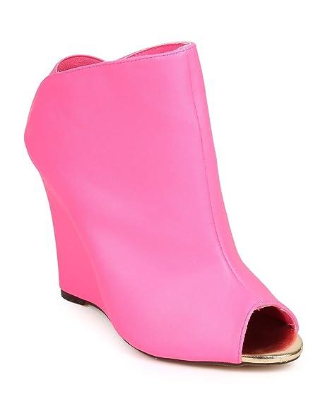 2c216df39e9 Women Leatherette Peep Toe Tailored Single Sole Wedge Bootie DG87 - Neon  Pink (Size