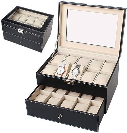 GOVD Caja para Guardar Relojes con Tapa de Cristal Organizador de Almacenamiento para Guardar Relojes, Negro: Amazon.es: Hogar