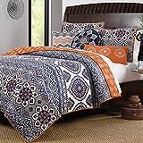 Boho Chic Moroccan Paisley Pattern Grey Orange Cotton 3 Piece Twin Size Quilt Bedding Set