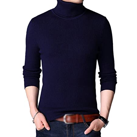 Mens Winter High Polo Neck Knitted Jumper Sweater Long Sleeve Slim Pullover Tops