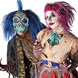 Dream Scary Halloween Mask for Adults, Horror Purge Mask with with Blue EL Wire for Adults Cosplay Costume, Light up Party Favors and Huanted House Decoration