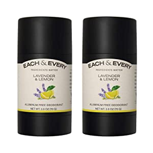 Each & Every 2-Pack Natural Aluminum-Free Deodorant for Sensitive Skin with Essential Oils, Plant-Based Packaging, Lavender & Lemon, 2.5 Oz.