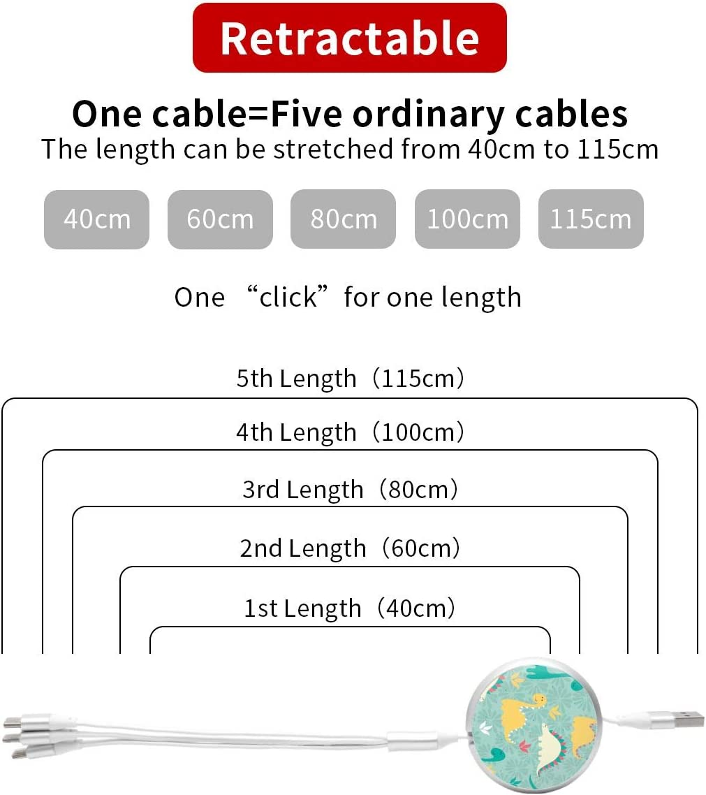 Dinosaur Pattern 3 in 1 USB Multi Function Charging Cable Data Transmission USB Cable for Mobile Phones and Tablets Compatible with Various Models with Storage Bag