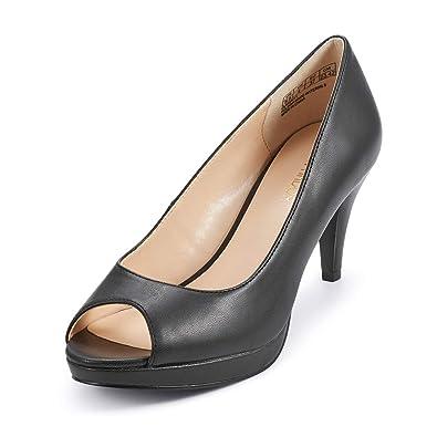 332f687a287 JENN ARDOR Women's Ladies Classic Mid Heel Round Peep Toe Pumps Dress Party  Slip On Sandals