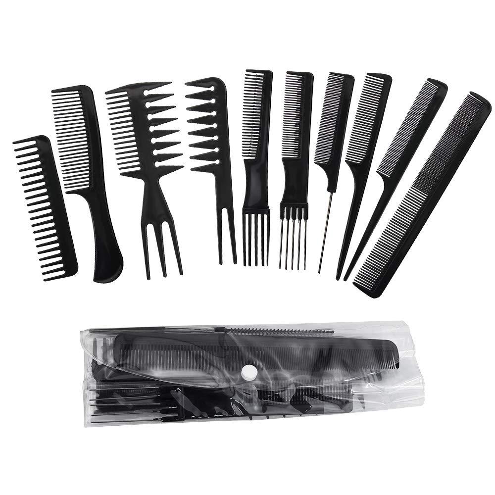 Kbnian Kit 10 Pettini Pettine, Nero Professionale Salone Styling Pettine Set, Taglio dei Capelli Pettine, Stylist Parrucchiere Barbiere Famiglia Pettine Set