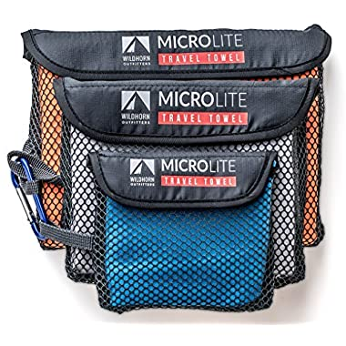 Microlite Microfiber Travel / Camping Towel Bundle - Quick Dry Compact Towels - Extra Large, Large & Small