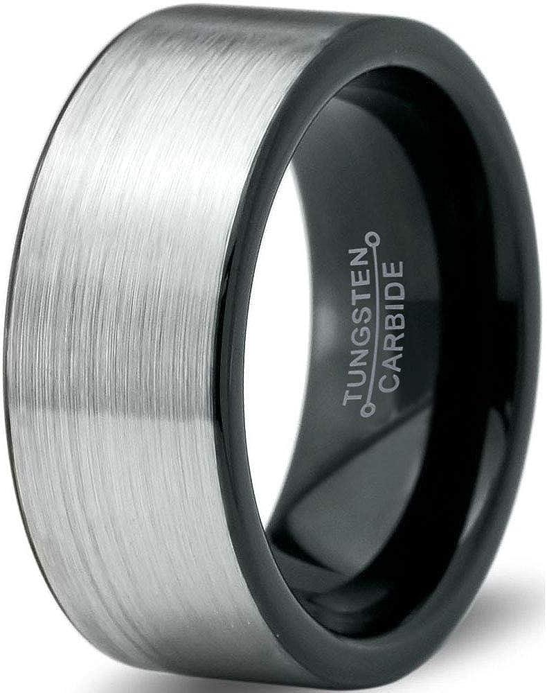 Charming Jewelers Tungsten Wedding Band Ring 8mm Men Women Comfort Fit Black Blue Grey Flat Cut Brushed