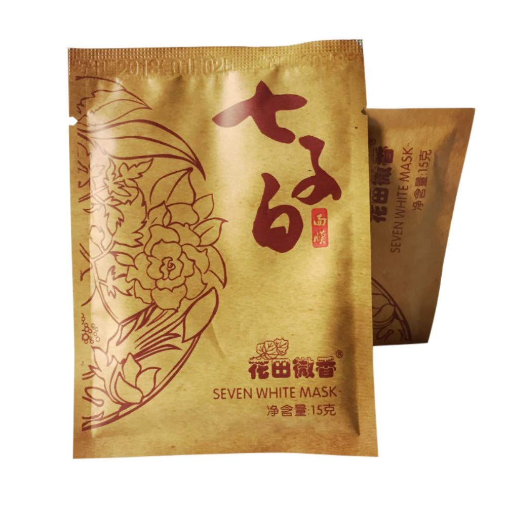 Chinese Medicine Seven White Mask - 5PCS DIY Mask Whitening Anti Aging Acne Spots Speckle Remove Blackhead Shrink Pores - Skin Care Traditional Chinese Medicine Mask Powder by ColorfulLaVie