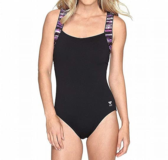 dc09326ae1115 TYR Women's Bellvue Stripe Square Neck Control Fit Swimsuit, 8, Black/Purple