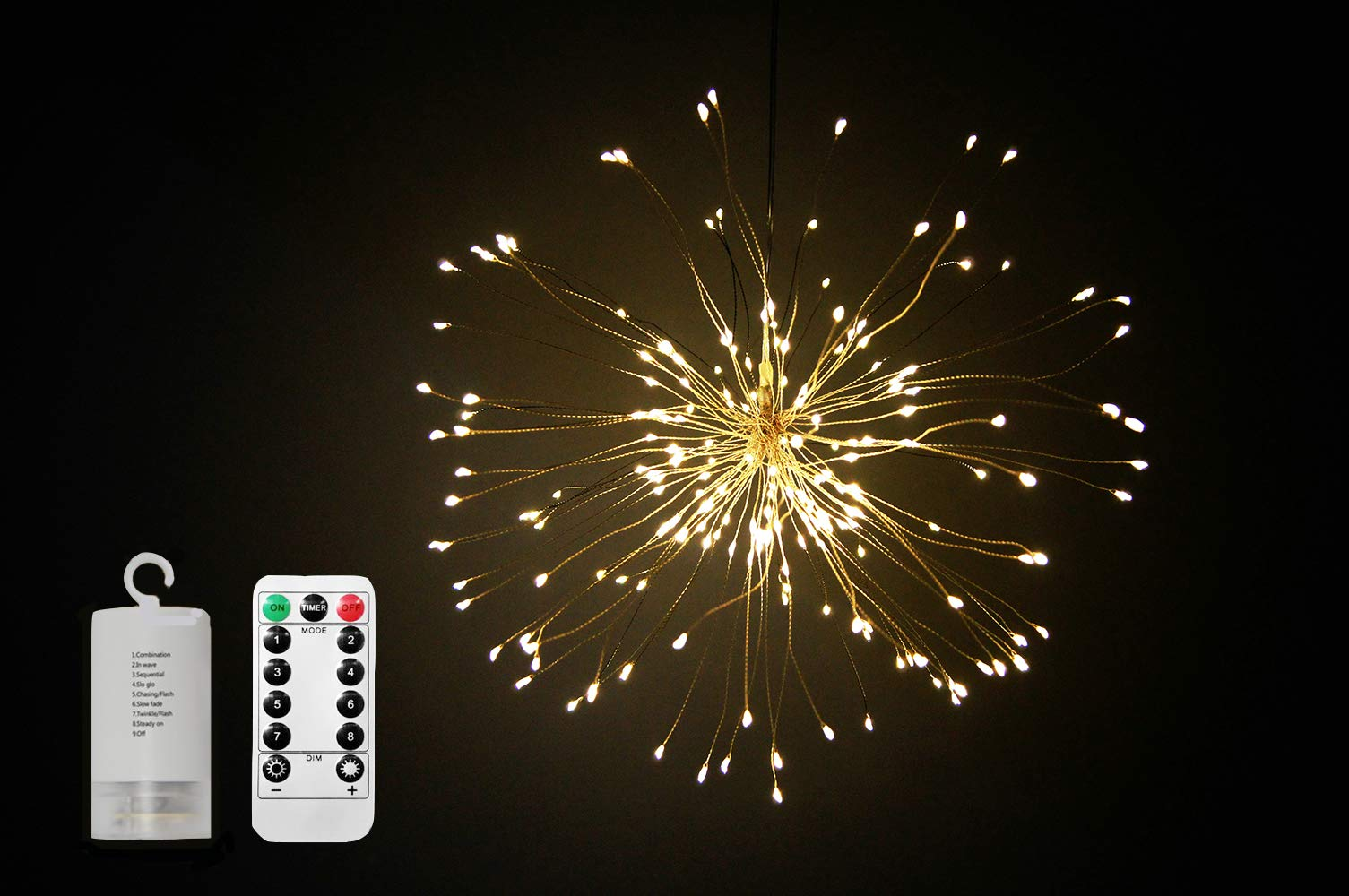 Viwind Fairy Starry String Lights Battery Operated Hanging Starburst Light with Remote Control,Decorative Bouquet lights for Christmas,Outdoor,Indoor,Patio,Wedding,Party,Banquet,Festival-Warm White