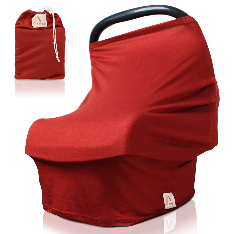 Amazy Autositzbezug für Babys inkl. Aufbewahrungsbeutel – Dehnbare Abdeckung für Babyschalen zur Verdunklung und zum Schutz oder als Stilltuch und Einkaufswagenschutz für Ihr Baby (Blau   Blumen)