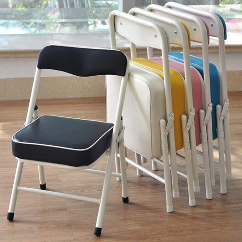 JIEER-C Fritid kontorsstol hopfällbar stol pall barn barnstol ryggstöd rörformig stålram PU lätt hållbar 33 x 28 x 53 cm hållbar stark SVART