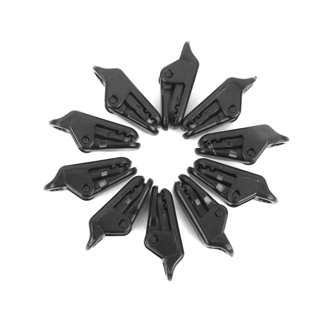 SGerste Abrazadera de plástico para toldo, 10 piezas, con pinzas para sujetar la lona y apretar la herramienta, para acampada, toldo, barco, remolque RV