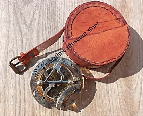 MAH Handmade Brass Sundial Compass Stamped Leather case. C-3058-P by MAH