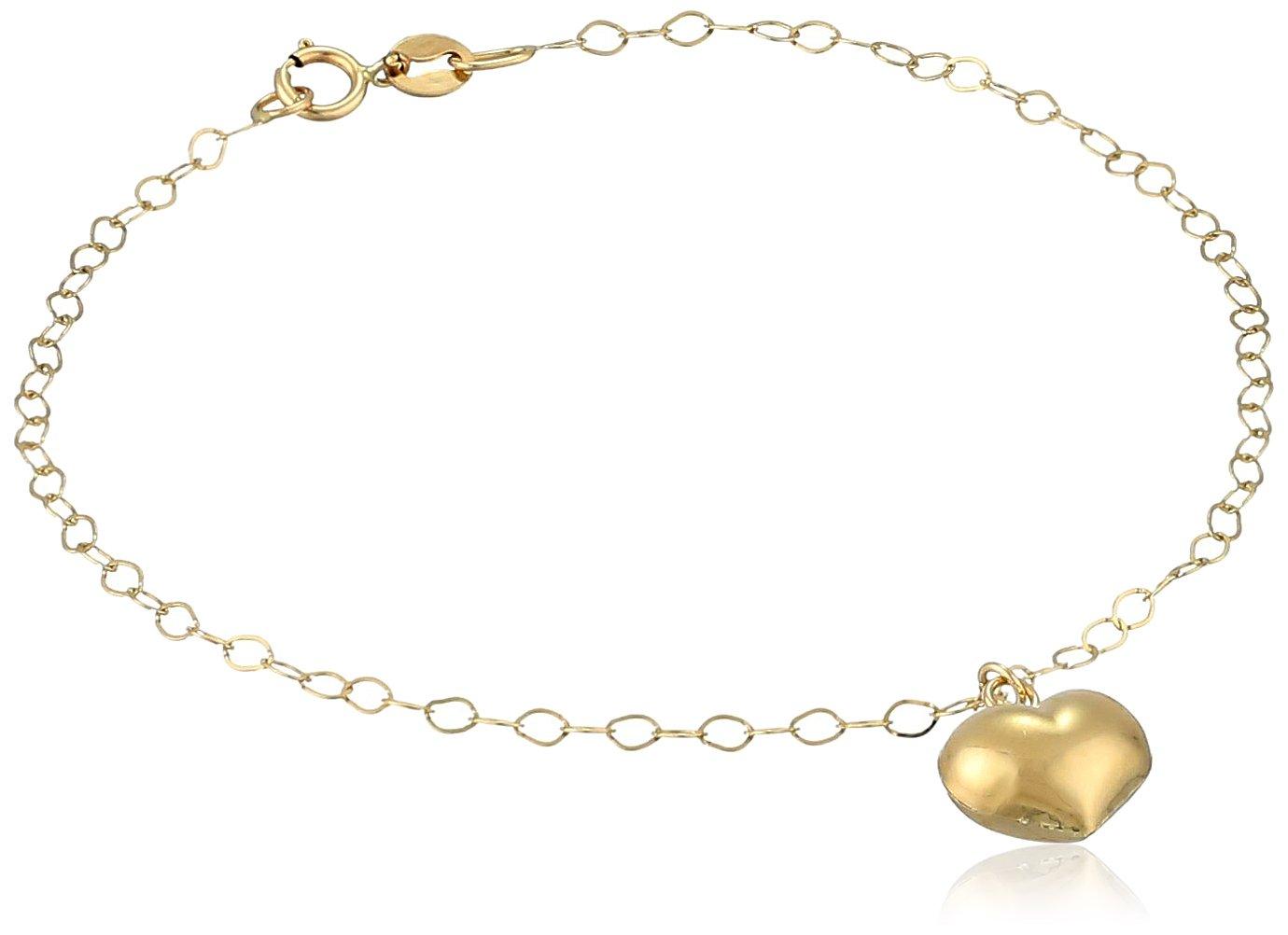 14k Yellow Gold Italian Heart Charm Bracelet, 7''
