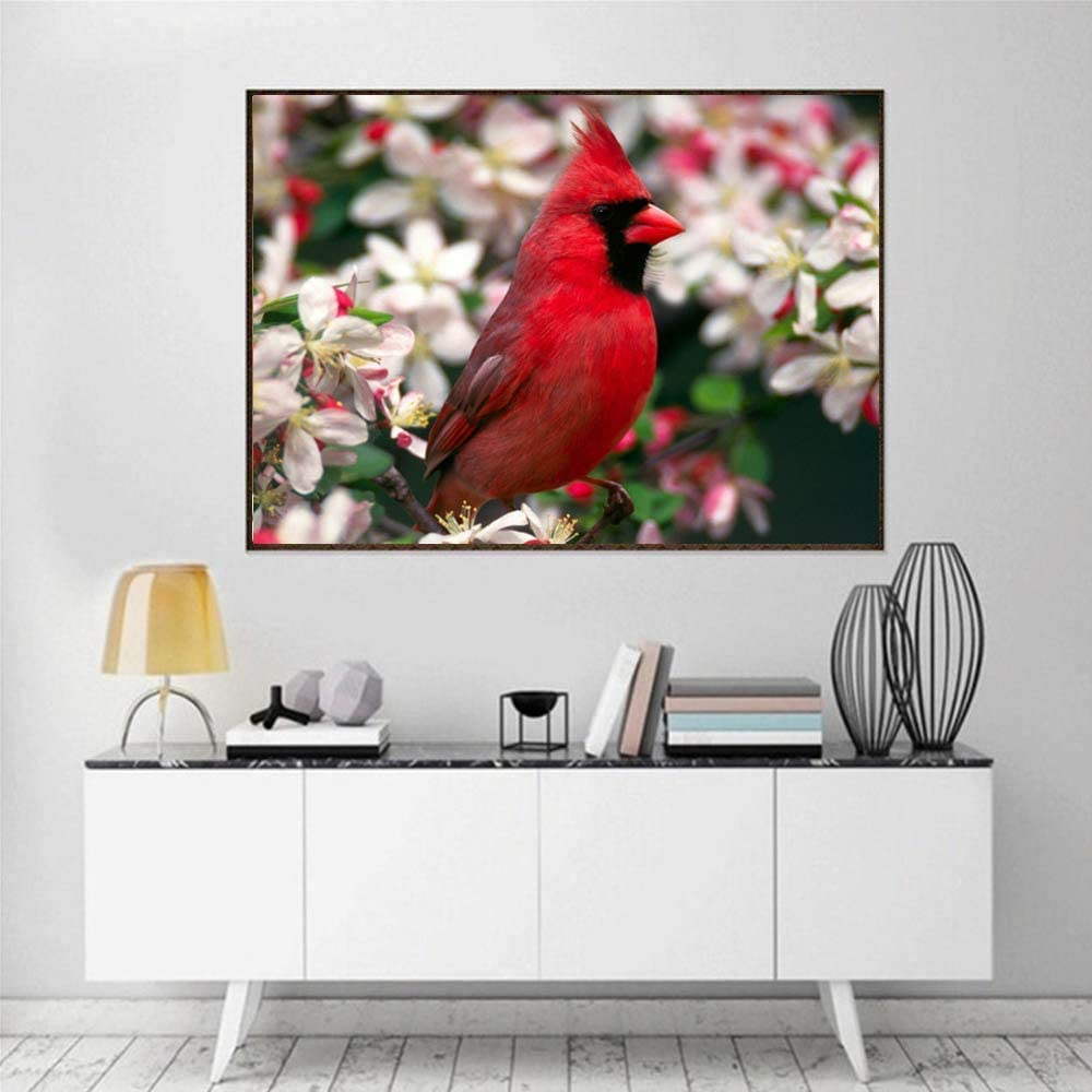 Frameless Red Cardinal 5D Diamond Painting Diy Paint by Diamond Kit Home Wall Decor 9.8X11.8 Inch