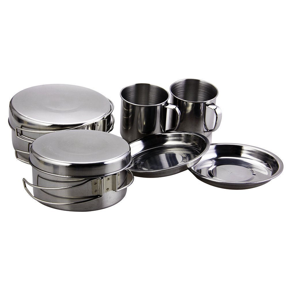 BeGrit Backpacking Camping Cookware Picnic Camp Cooking Cook Set for Hiking (8pcs/set, 410 Stainless Steel) 8413