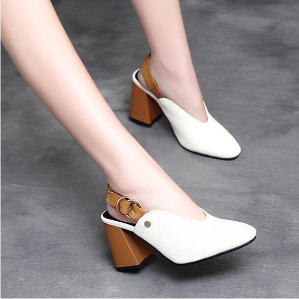 Jingsen Sommer Sommer Sommer Schuhe Baotou High Heel Sandaletten Frau Gürtelschnalle Leder Heel Sandaletten (Farbe   Weiß Größe   38) 99f840