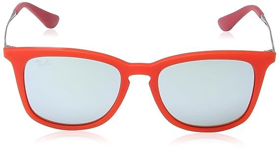 Ray-Ban Unisex Sonnenbrille RJ9063S, Gr. Medium (Herstellergröße: 48), Mehrfarbig (Gestell: Rot/Gunmetal, Gläser: Grün Verspiegelt 701030)
