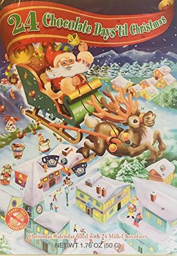 Christmas Advent Calendar Filled With 24 Milk Chocolates! Choose From 4 Designs! 1.76oz Per Calendar! Peanut Free! Gluten Free! (Santa Riding A ()