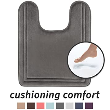 Microdry 10875 Quick Drying Contour Memory Foam Bath Mat With Grip Tex Skid Resistant Base, 21 X 24, Charcoal by Microdry