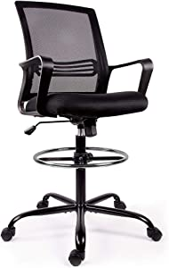 SMUGCHAIR Drafting Chair Tall Office Chair for Standing Desk Drafting Mesh Table Chair with Adjustable Armrest and Foot Ring