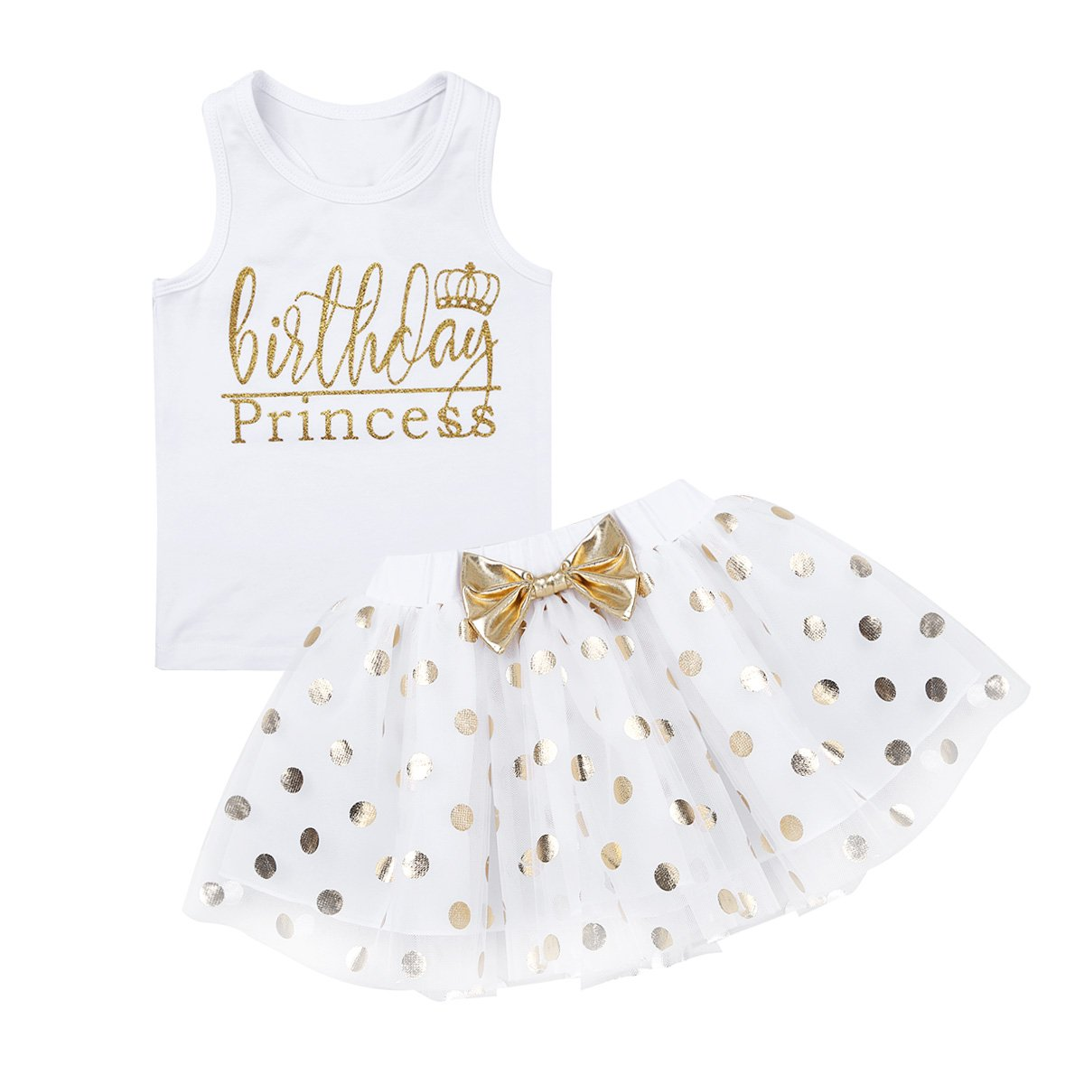 dPois Little Princess Girls' First Birthday Outfits Glittery Monogram Tank Top with Polka Dot Skirts 2 Pieces Set White 4-5