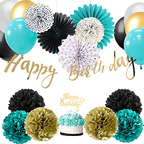 Easy Joy Baby Boy 1st Birthday Decoration Wild One Birthday Decorations Kit Tissue Paper Pom Poms Flowers Rosette Fans Latex Balloons Decor with Gold Happy Birthday Banner (Teal Gold White)