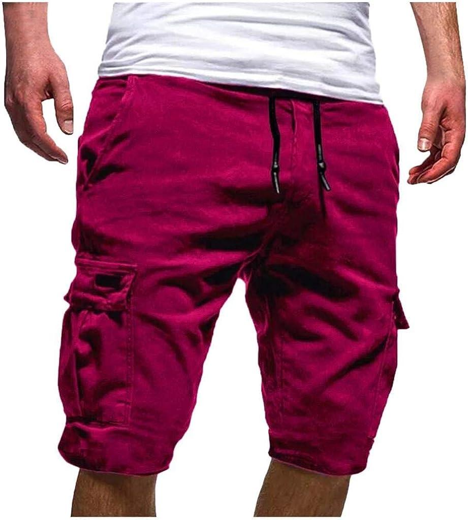 terbklf shorts for Men Mens Drawstring Comfy Shorts Summer Fashion Casual Shorts Elastic Waist Shorts for Men Cargo