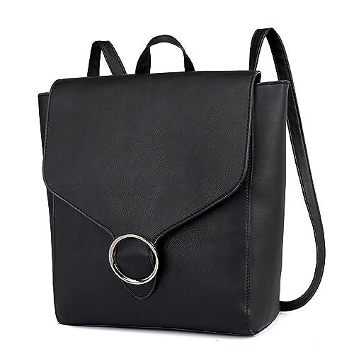 Amazon.com  AgrinTol Vintage Women Student Pure Color Leather Shoulder Bag  School Bag Tote Backpack  Shoes 9363849c2f765