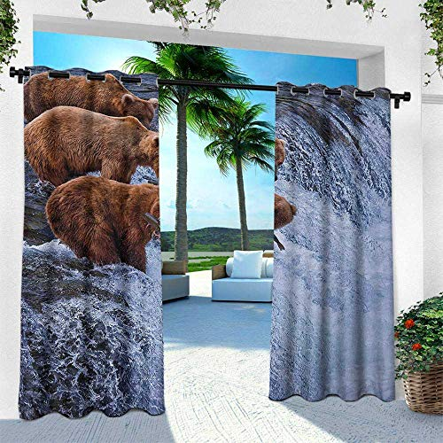 (Hengshu Africa, Silver Grommet Top Drape,Grizzly Bears Fishing in The River Waterfalls Cascade in Alaska Nature Camp View, W96 x L96 Inch, Brown White)
