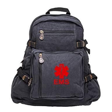 991315b66 EMS Emergency Medical Services Army Sport Heavyweight Canvas Backpack Bag  in Black & Red, Small