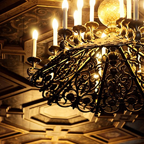 (Golden Chandelier Library Photography Study Office Home Decor Ceiling Square Print )