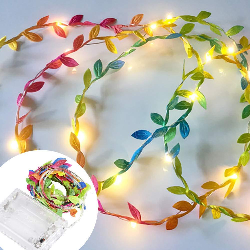 Lichterkette,FeiliandaJJ 2//3//5//10M Gr/ünes Blatt Licht Zweig Licht Lichterkette LED Licht Hochzeit Party Weihnachten Halloween Innen//Au/ßen Haus Deko String Lights Gr/ün, 10M