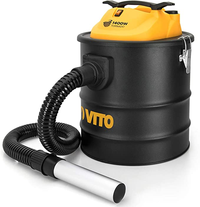 Aspirador de cenizas VITO 1400 W TORNADO 18 L 2 filtros HEPA estufas chimeneas hasta 50 °C soplador automático sistema Clean del filtro: Amazon.es: Bricolaje y herramientas