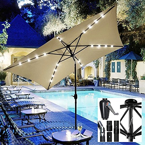 New UV Blocking 10' x 6.5' Rectangle Umbrella Patio Outdoor Bistro Balcony Wall Window Sunshade W/Solar LED Beige #902 (Parts Patio Heater Edmonton)
