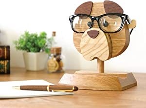 Artistic(TM) - Handmade Wooden Spectacle Holder Eyeglass Holder Dog Display Stand for Home Office Desk Decor Accessories, 7 inches(H), Best Eyeglass Holder You can Ever Have!!