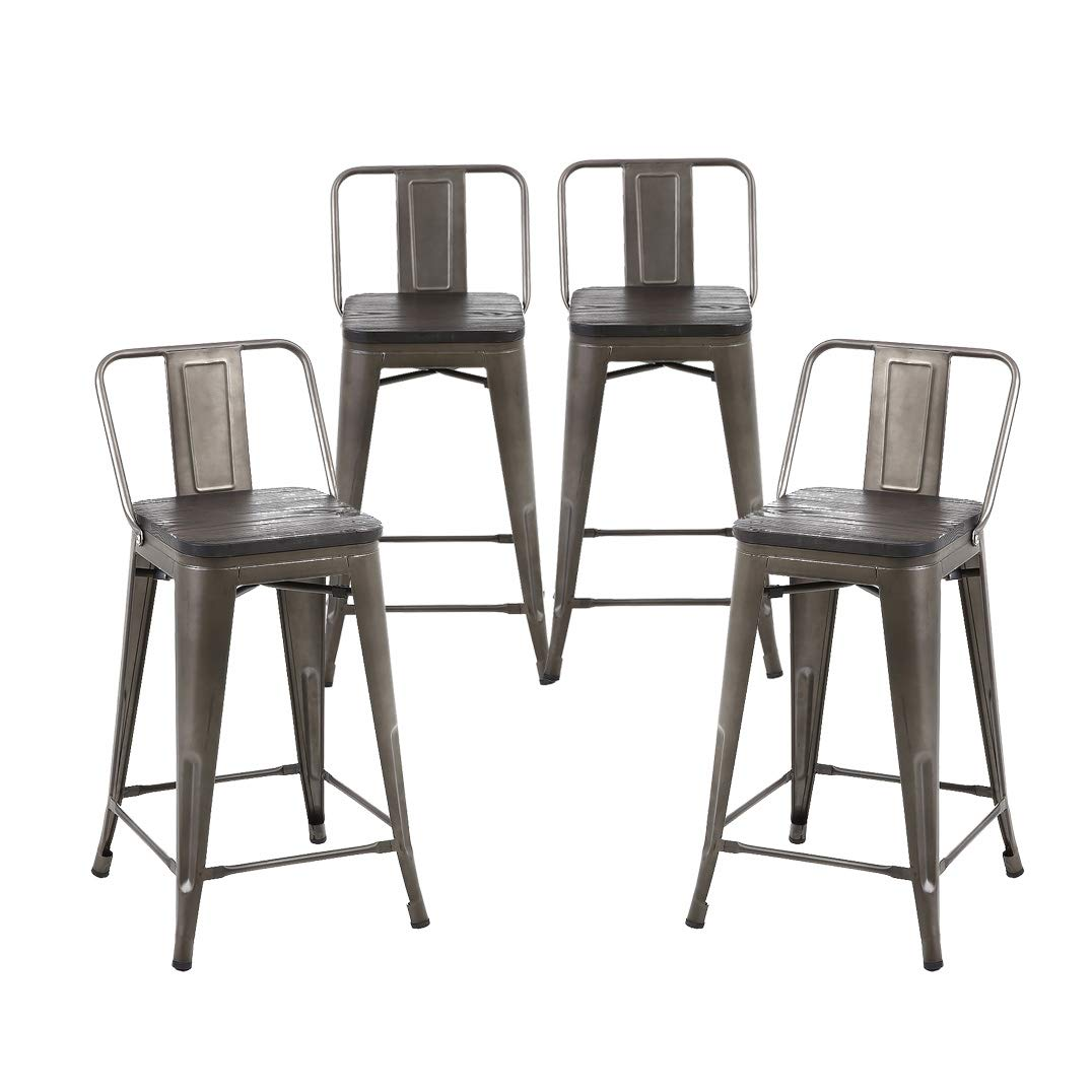 Buschman Set of 4 Bronze Wooden Seat 24 Inch Counter Height Metal Bar Stools with Medium Back, Indoor Outdoor