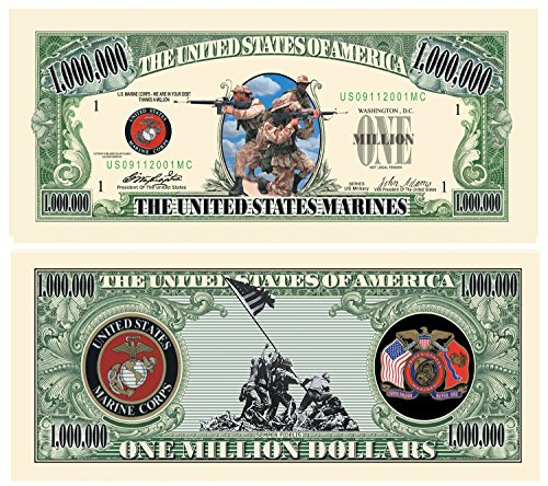(American Art Classics U.S. Marines USMC $Million Dollar$ Novelty Bill Collectible in Currency Holder - Best Gift for The)