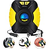 Tire Inflator, Aunis Portable Air Compressor,12V DC 150 PSI Car Air Pump With Digital LCD Screen 3-Mode LED Lights, Tire Air Compressor for Car, Bicycle, Basketball, Other Inflatables