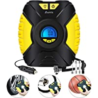 Tyre Inflator, Portable Air Compressor Pump With Pressure Gauge Digital LCD Screen 3-Mode LED Light, Car Pump 12V, 90 PSI Air Compressor For Car Tires Bike Basketball And Other Inflatables
