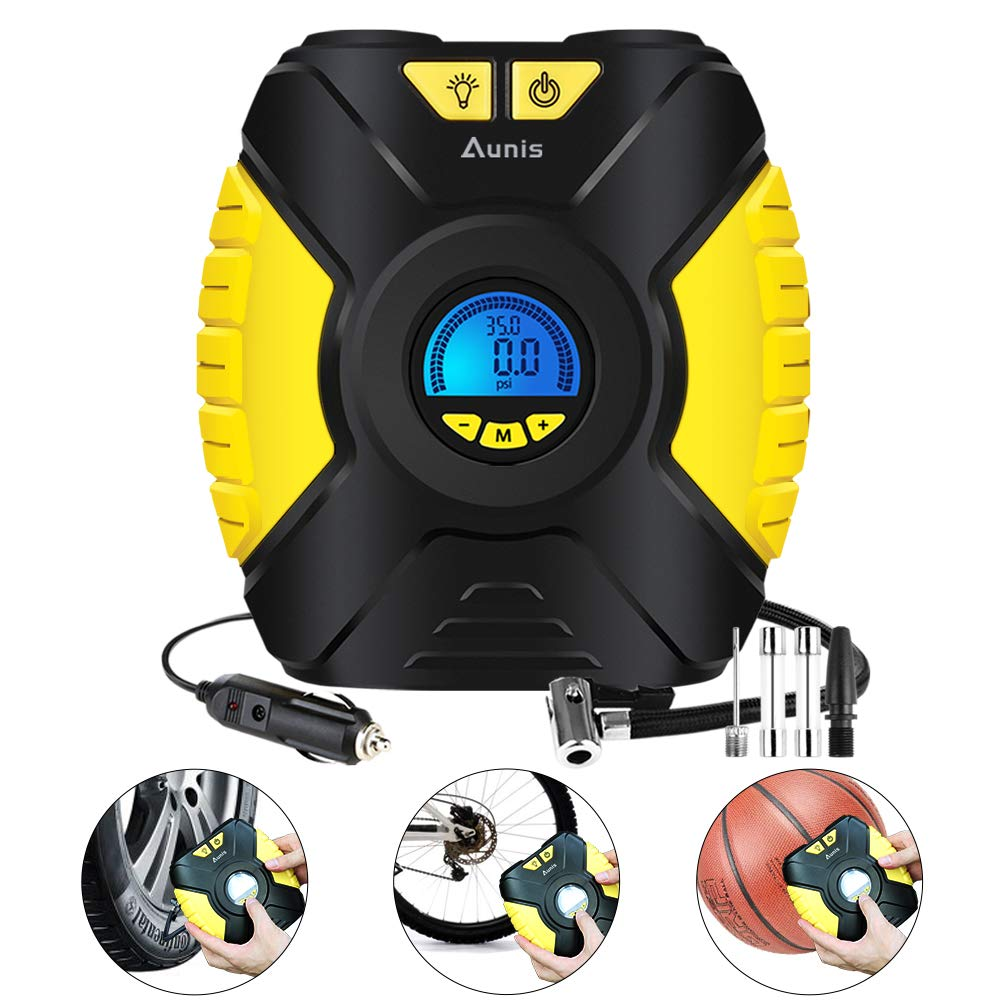 Tire Inflator,Aunis Portable Air Compressor,12V DC 150 PSI Car Air Pump With Digital LCD Screen 3-Mode LED Lights, Tire Air Compressor for Car, Bicycle,Basketball, Other Inflatables