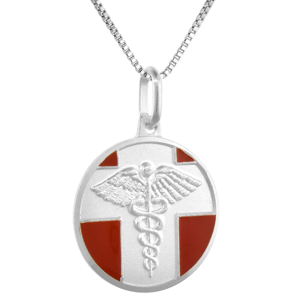 Sterling Silver Medical Alert Necklace Round Italy 3//4 inch 0.8mm Chain