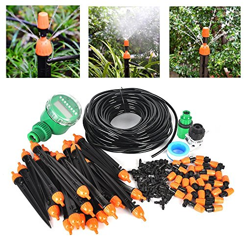 Auto Drip Irrigation Kit- 82FT Irrigation Pipe, Irrigation Spray ,Irrigation Timer , Perfect Irrigation Systems for Flower Bed, Patio, Garden Greenhouse (Greenhouse Irrigation System)