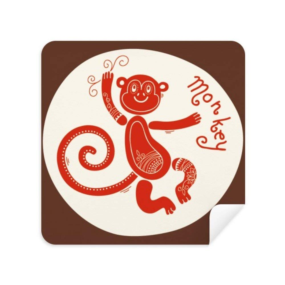 JINGB Year of Monkey Animal China Zodiac Red Glasses Cleaning Cloth Phone Screen Cleaner Suede Fabric