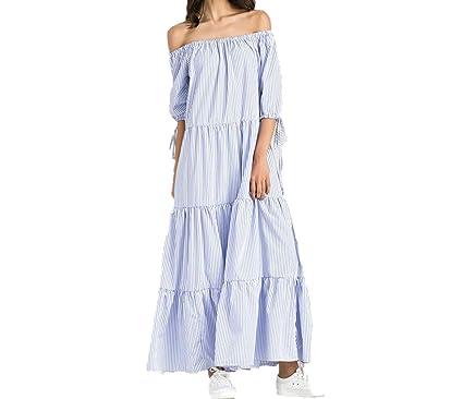 9a10a2d3e7cc Short Sleeve Casual Long Dress Off Shoulder Cotton Lace up Dresses ...